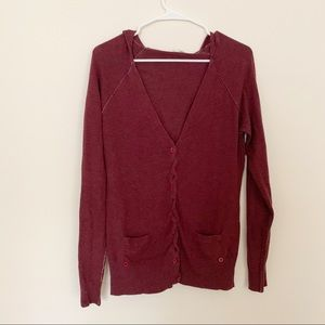 Anthropologie Moth Burgundy Hooded Cardigan